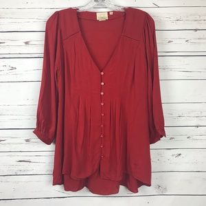 Vanessa Virginia Anthropologie Pintuck Red Blouse